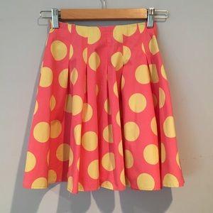 Mini Boden Orange & Yellow Polka Dot Skirt, Sz 7/8